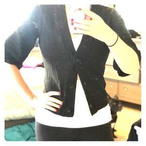 Black three quarter sleeve sweater